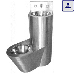 Moduł kompaktowy lewostronny, podwieszana umywalka oraz miska WC o podwyższonym stopniu wandalizmu AKC13123.L