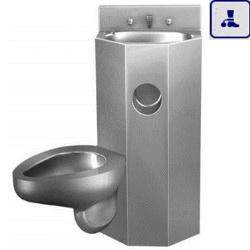 Moduł kompaktowy lewostronny z elektromagnetyczną regulacją, podwieszana umywalka oraz miska WC o podwyższonym stopniu wandalizmu AKC670712L
