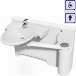 Umywalka mobilna ze ścianką dokującą oraz manualną regulacją wysokości, model prawostronny 40-40071