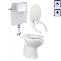 Zestaw WC bidet, deska, spłuczka dla seniorów oraz osób niepełnosprawnych z odpływem pionowym ZES04