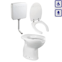 Zestaw WC bidet, deska, spłuczka dla seniorów oraz osób niepełnosprawnych z odpływem pionowym ZES02