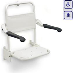 Kompaktowe siedzisko prysznicowe składane z oparciem i podłokietnikami LI220301