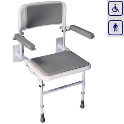 Siedzisko prysznicowe składane z nogami, oparciem i podłokietnikami EB1