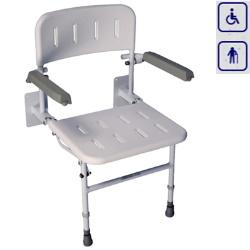 Siedzisko prysznicowe składane z nogami, oparciem i podłokietnikami VB5