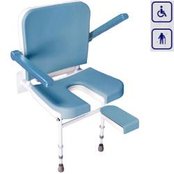 Siedzisko prysznicowe składane z nogami, oparciem i podłokietnikami VB65