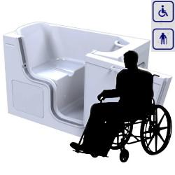 Wanna siedząca z drzwiami przystosowana dla osób na wózku inwalidzkim 1300×750 TRANQUALITY