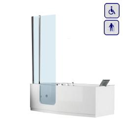 Wanna z drzwiami i parawanem dla seniorów oraz osób niepełnosprawnych 1700×800 IRIS