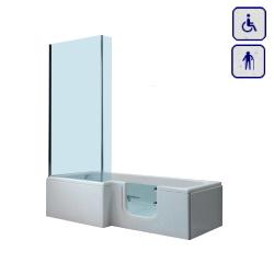 Wanna z drzwiami szklanymi i parawanem uniwersalna 1700x700mm LARIMAR