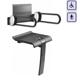 Zestaw siedzisko prysznicowe składane z podpórką oraz oparcie z uchwytami łukowymi ARSIS 47729