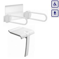 Zestaw siedzisko prysznicowe składane z podpórką oraz oparcie z uchwytami łukowymi ARSIS 47730