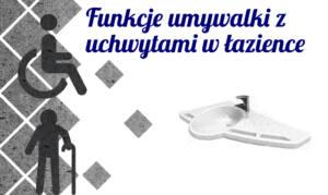 Funkcje umywalki z uchwytami w łazience przystosowanej dla osoby niepełnosprawnej lub seniora