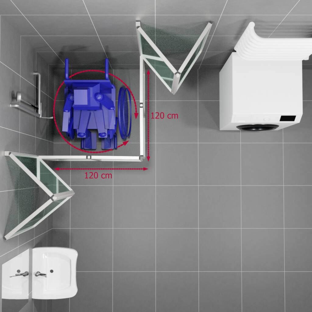 Przestrzeń manewrowa dla wózka pod prysznicem 120 cm x 120 cm