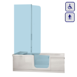 Wanna z drzwiami i parawanem dla seniorów oraz osób niepełnosprawnych 1700×750 OLIWIA