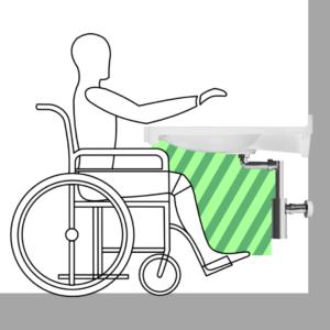Wolna przestrzeń pod umywalką, po zostawianiu syfonu dla osób niepełnosprawnych.