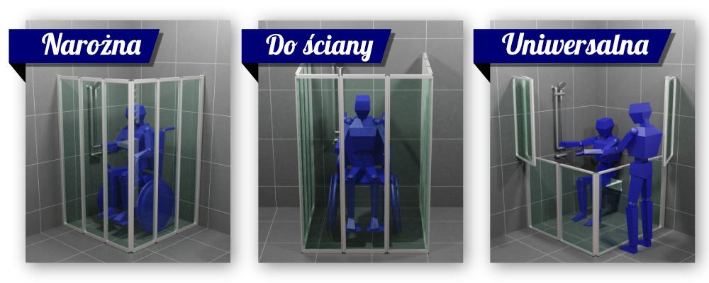 Rodzaje kabin prysznicowych dla niepełnosprawnych- kabina narożna, kabina ścienna, kabina uniwersalna